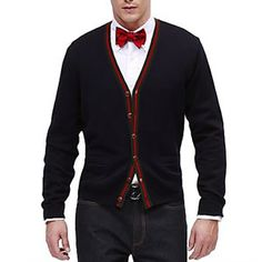 cardigan, jeans & red bow tie