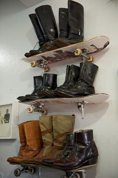 Brilliant use of old skateboards. Fun for a teenager room! @Neisha Campbell Campbell Handley