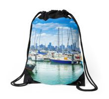 View to the Melbourne CBD across Hobsons Bay from Williamstown Drawstring Bag