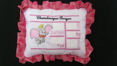 Dumbo Announcement pillow designs Afrikaans or English by EmbroiderByMADELEINE on Etsy Afrikaans, Pillow Design, Marketing And Advertising, Announcement, Embroidery Designs, Handmade Items, English, Pillows, Sewing