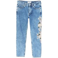 MANGO Embroidered relaxed Spring jeans found on Polyvore featuring jeans, embroidery jeans, zip jeans, zipper fly jeans, torn jeans and ripped blue jeans