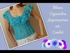 Versão destros: Blusa Ciganinha Aquamarine em crochê tam. P ( 1° parte) # Elisa Crochê - YouTube