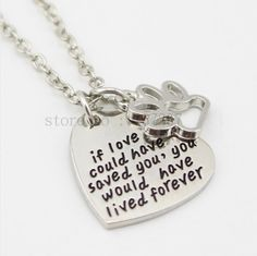 If love could have saved you Necklace Paw Necklace Ali