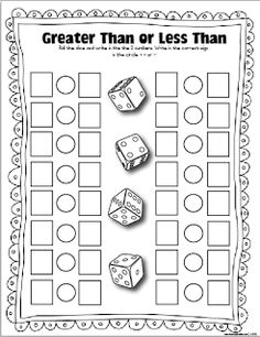 Dice Games (Laminate and use foam dice.) Early Finishers Activity:  Fact Families, Greater Than, Less Than