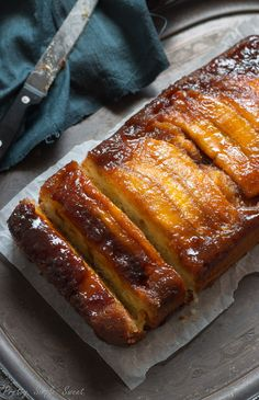 Caramel Banana Upside-Down Sour Cream Cake