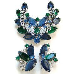 $36.75 (was $49) - Juliana DeLizza & Elster Blue Green Rhinestone Brooch Earrings
