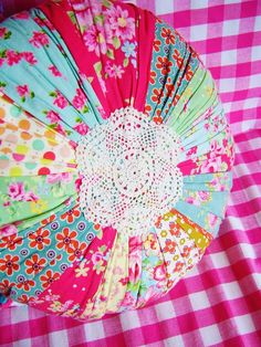 lovely round patchwork cushion