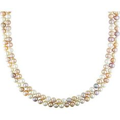 """7-8mm Multi-colored Cultured Freshwater Natural Shape Pearl Endless Necklace, 64"""""""