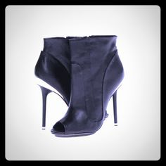L.A.M.B Peep Toe Booties. NWOT black leather lamb lyssa.. Just too big for me otherwise i want to keep it..make an offer!☺️ L.A.M.B. Shoes