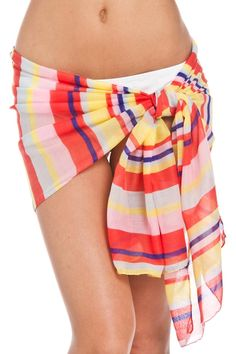 """This pareo and scarf wrap is bound for the beach in a colorful stripe design.    Measures: 25"""" x 68""""   Stripe Pareo Scarf by Violet Del Mar. Accessories - Scarves & Wraps San Diego, California"""