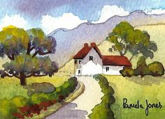 Pittura in miniatura di gallese Agriturismo Acquarello ACEO