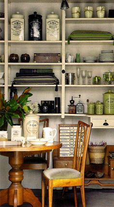 Open kitchen shelving with a display of vintage items via interiorstyledesign.tumblr