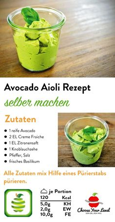Avocado Spread - Choose Your Level ™-Avocado Aufstrich – Choose Your Level™ Make Aovcado Aioli recipe for Aioli yourself. This avocado aioli sauce is quick to prepare, low carb and super tasty. Making Aioli yourself has never been so easy! No Calorie Foods, Low Calorie Recipes, Keto Recipes, Healthy Recipes, Crock Pot Recipes, Avocado Spread, Avocado Toast, Quick Dessert Recipes, Easy Desserts