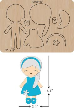 Online Shop Nuova ragazza sagoma Di Legno Scrapbooking C-321-24 Fustelle | Aliexpress Mobile Felt Doll Patterns, Quiet Book Patterns, Stuffed Toys Patterns, Felt Diy, Felt Crafts, Paper Crafts, Felt Templates, Paper Dolls Printable, Hello Kitty Birthday