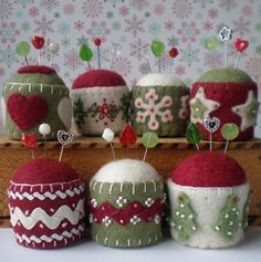 embellished felt pincushions