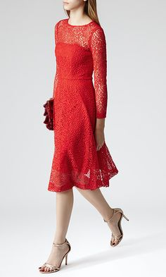 Reiss Rhomona Women's Floral Lace Party Dress in Ruby Red