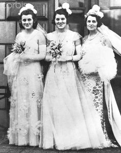 Kathleen, Rosemary and Rose Kennedy in formal gowns, before their presentation at the Court of St. James, London. May 01, 1938 ♡❀♡✿♡❁♡✾♡✽♡❃♡❀♡