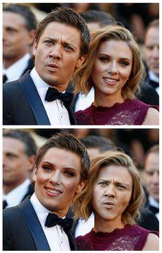 Jeremy Renner and Scarlett Johanson  | 30 Most Disturbing Face Swaps Of 2012