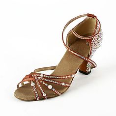 Women's Satin / Rhinestone Upper Ankle Strap Latin / Salsa Dance Shoes With Pearl – USD $ 39.99
