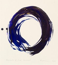 Making the enso—the Zen circle that conveys everything, the whole world, complete, the ultimate Zen symbol of emptiness—is kind of a practice. Ensos are traditionally done in sumi ink, black on white, but Kazuaki Tanahashi is well known for his colorful ones, which he makes with one brushstroke.