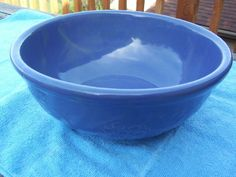 Old Periwinkle Stoneware Pottery Mixing Bowl with Raised Fruit Decor USA Mark