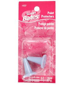 SUSAN BATES-Bulky Point Protectors. take sure the points of your needles are always protected with classic bulky point protectors from Susan Bates. They will keep your stitches on the needle and guard your points from being damaged when you have to put your knitting down. Bulky point protectors will fit needles from US 8 to 15 (5mm to 10mm) and there are two light purple point protectors per package. Imported.