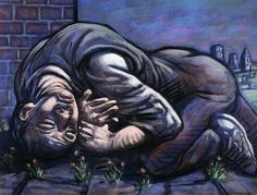 Peter Howson 'Journeys End IV', pastel on paper. Peter Howson, Journey's End, Art Fair, Contemporary Paintings, Lovers Art, British Artists, Gallery, Prints, Pastel