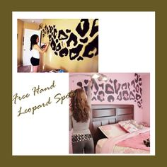 Teen bedroom walls done in a leopard pattern