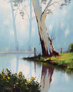 Misty River Gum by artsaus.deviantar… on Misty River Gum by artsaus. Watercolor Landscape Paintings, Watercolor Trees, Landscape Art, Scenery Paintings, Watercolour, Australian Painting, River Painting, Pictures To Paint, Tree Art