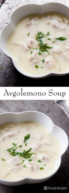 Avgolemono Soup ~ An easy version of the classic Greek avgolemono soup of chicken with rice or orzo pasta finished with egg and lemon. ~ SimplyRecipes.com