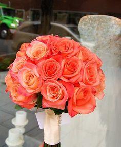 Vibrant bright coral rose bouquet #peachcoral #peachcoralwedding #flowers…