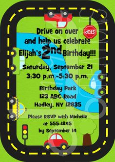 Car Themed Birthday Invitation by MaMadeCreations on Etsy, $5.00
