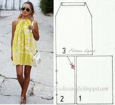 Simple Step by Step Dress – Patterns … - Sommer Kleider Ideen Dress Sewing Patterns, Clothing Patterns, Easy Dress Pattern, Pillowcase Dress Pattern, Sundress Pattern, Summer Dress Patterns, Diy Clothing, Sewing Clothes, Fashion Sewing
