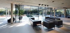 Open space living and dining area with outdoor views of a luxurious villa in Vienna, Austria