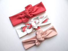 Organic Knotted Headbands for your baby. Coral, Watermelon, and Blush. Stretchy and soft perfect for summer!