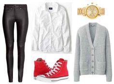 Leather leggings white shirt gray cardigan