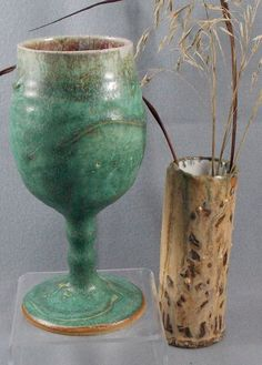 Handthrown Pottery Goblets with Sparkly Turquoise Glaze by EllisonBayPottery, $40.00