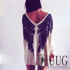 Online Shop Hot New Good quality women Sweaters pullover V-neck Knitwear Female Angel wings Printed Beige camisolas ailes couleur unie Pull|Aliexpress Mobile