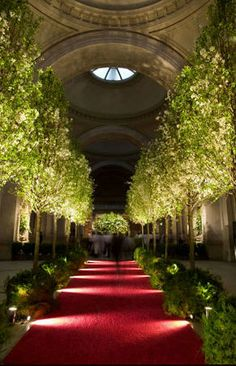 Met Ball Garden Design Tree Lined Aisle W Lights