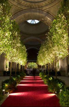 Met Ball - garden design tree lined aisle w/ lights