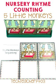 Help your students make meaningful connections to counting through rhymes. These activities provide real-world scenarios for counting and simple subtracting. The nursery rhyme will help students with one-to-one correlation and retells too! Perfect for kinder math lessons. #techteacherpto3 Primary School Curriculum, 5 Little Monkeys, Teaching Addition, Monkey Nursery, Subtraction Activities, Teaching Numbers, Australian Curriculum, Number Sense, Addition And Subtraction