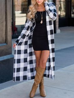 Ladies Women's Casual Full Length Boyfriend Cover Up Long Plaid Cardigan Plaided Long Sleeves Open Front Coats Clothes, Black / XL Shrug For Dresses, Black Plaid, Long Cardigan, Cardigans For Women, Fall Outfits, Long Sleeve, Clothes, Women's Casual, Style