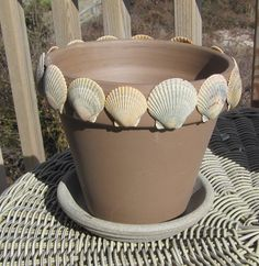"Natural Sea Shell Decorated 6 "" Flower Pot/Planter. $15.00, via Etsy."