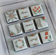 Delicate Spring squares with flowers, butterflies, and inspiration by mintlemonade, posted on Cookie Connection