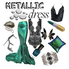 """""""Metallic Mermaid Look"""" by shaheenk ❤ liked on Polyvore featuring Agent Provocateur, Giuseppe Zanotti, Marni, Paco Rabanne, Stephen Webster, Deborah Lippmann and Winky Lux"""