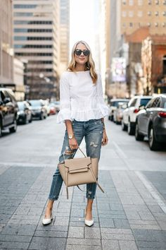 Fashion Jackson, Club Monaco White Ruffle Top, Denim Ripped Relaxed Jeans, White Block Heel Pumps, Celine Belt Bag: