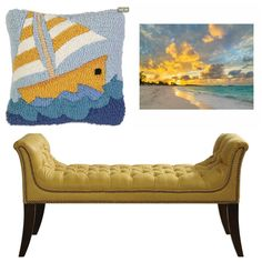Blue and yellow make a cheerful coastal or nautical themed room.  Shop for accents to make your room sunny and cheerful on SeasideBeachDecor.com