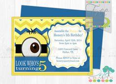 Printable Minion  Inspiered Party/ Baby Shower Invitation : DIY Digital Chevron  Invitation