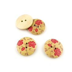 40 Pieces Sewing Clothing Buttons Sew On Wooden Wood Knopfe BB1705 Peony Round Colorful Plush Lovely Accessory Decoration Handmade Cute Scrapbook Flatback DIY -- Click image for more details.