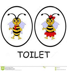 Bathroom sign cartoon